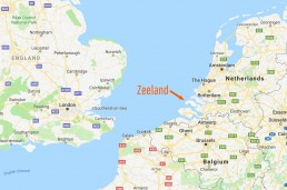 A map showing Zeeland in the Netherlands