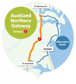 Auckland Northern Gateway Toll Road map