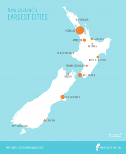 New Zealand's largest cities map
