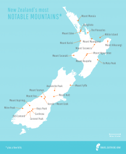 Map of New Zealand mountains