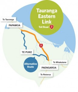 Tauranga Eastern Link Toll Road map
